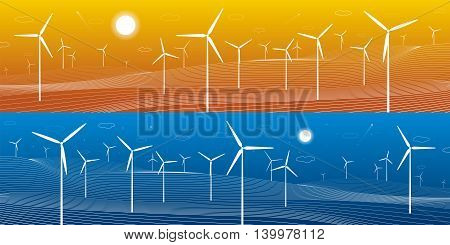 Ecology panorama, mountains landscape, windmills, wind force, energy illustration, day and night, vector design art