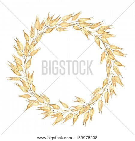 Wreath of Oats, vector illustration for healthy food.