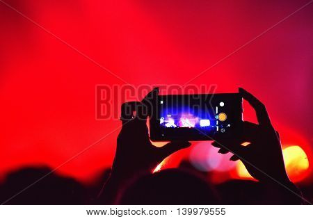 Crowd Recording Live Concert With Smart Phones