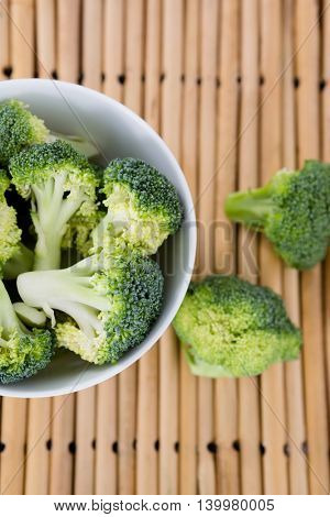 Overhead view of broccoli in bowl on place mat
