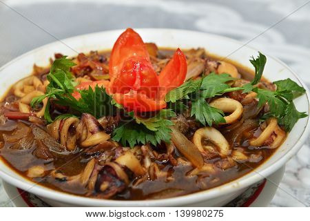 sweet and sour squid with celery leaves