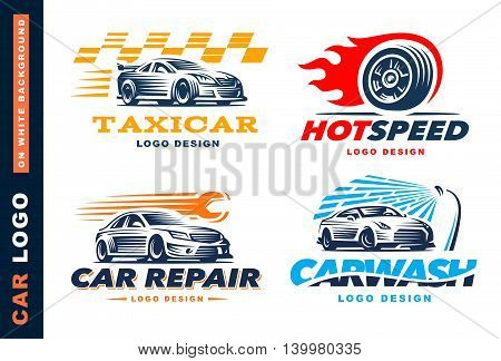 Collection of logos car, taxi service, car wash, repair, Competitions. On white background