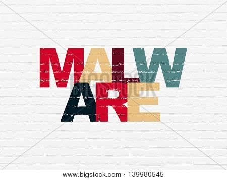 Safety concept: Painted multicolor text Malware on White Brick wall background