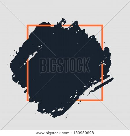 Abstract handdrawn background. Hand painted ink black smear with rough edges and orange thin square frame isolated on grey backdrop. Empty template - Trendy Vector illustration