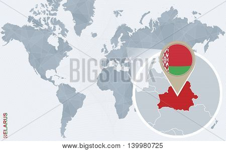 Abstract Blue World Map With Magnified Belarus.