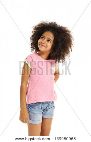 Happy African girl, isolated on white