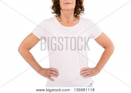 Cropped image of woman wearing white ribbon with hand on hip while standing against white background