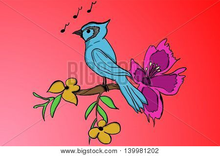 Blue bird standing on a branch with yellow leafs and purple bloom in cartoon style with music notes on red colored gradient background. Blue cartoon parrot on wooden branch.