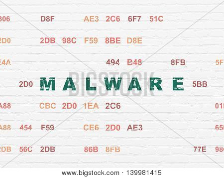 Protection concept: Painted green text Malware on White Brick wall background with Hexadecimal Code