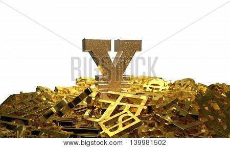 Yen sign on a pile of other currency symbols. 3D illustration