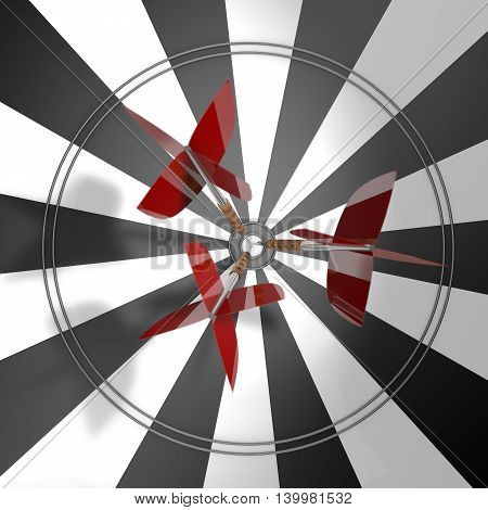 Darts. Three darts with red feathers in the center of the target. 3d illustration