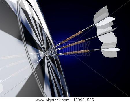 Darts on a blue background. 3D illustration