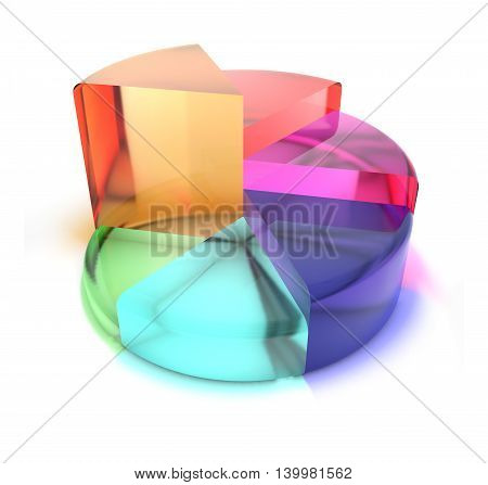 Diagram of translucent colored segments. Five parts. 3d illustration