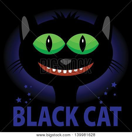 Happy smiling black cat in night, vector illustration