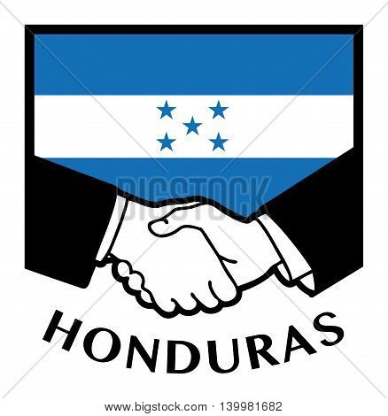 Honduras flag and business handshake, vector illustration