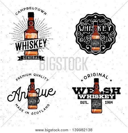 Whiskey themed logotypes badges labels logos design elements based on cartoon detailed whiskey bottle.