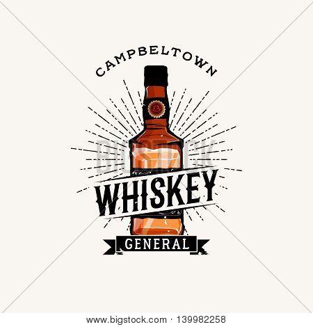 Whiskey logotype with cartoon detailed whiskey bottle