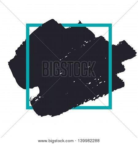 Abstract handdrawn background. Hand painted ink black smear with rough edges and blue thin square frame isolated on white backdrop. Empty template - Trendy Vector illustration