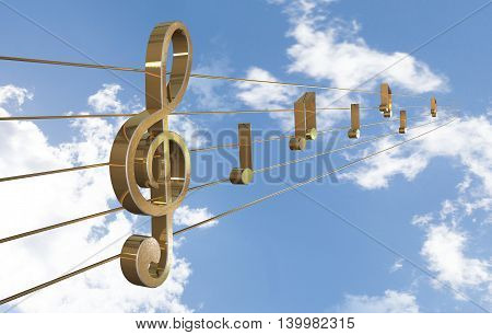 Music Background with Treble Clef. 3D illustration
