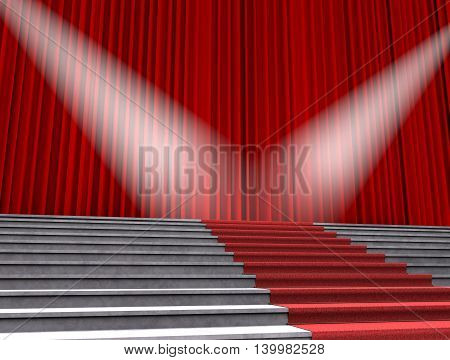 Red carpet stage rewarding spotlights. 3D illustration