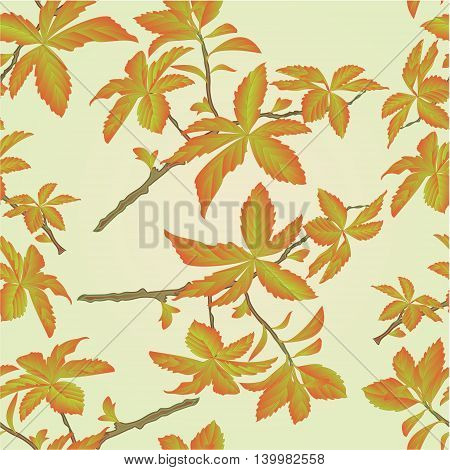 Seamless texture twig decorative shrub colorful leaves vector illustration
