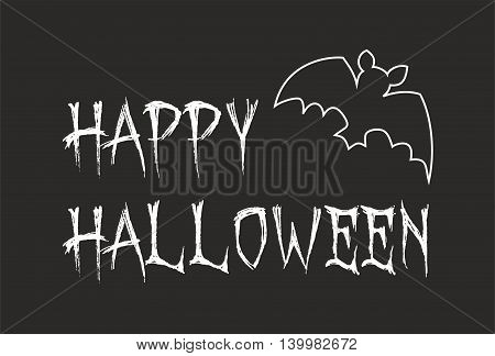 Happy Halloween party card with bat. Vector illustration isolated on black background.