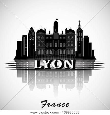 Modern vector  Lyon City Skyline Design. France