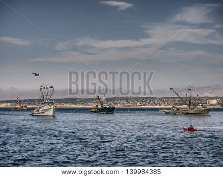 Fishing vessels in Monterey harbor California USA