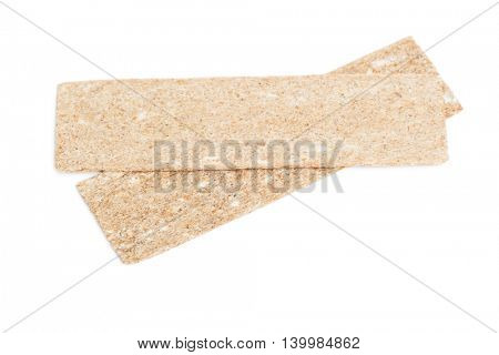 Slices of crisp bread isolated on white background