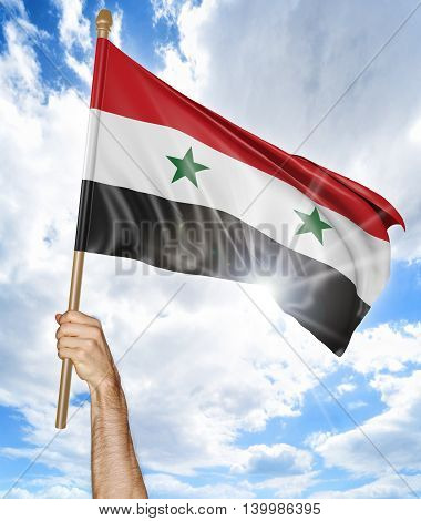 Person's hand holding the Syrian national flag and waving it in the sky, 3D rendering
