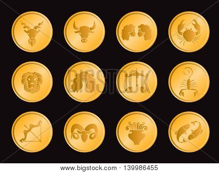 Horoscope in gold circle coin icon sign vector set design