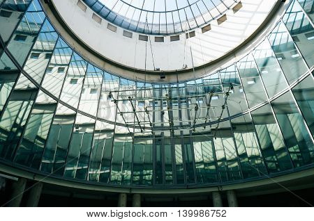 Frankfurt Germany - 22nd August 2015: Glass sunroof of a round room. Architectural design.