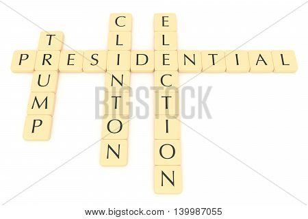 BERLIN GERMANY - JULY 26 2016: US Presidential election 2016: Letter tiles clinton trump 3d illustration