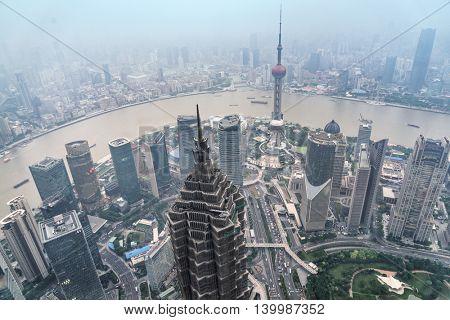 aerial view of shanghai paronama,china.