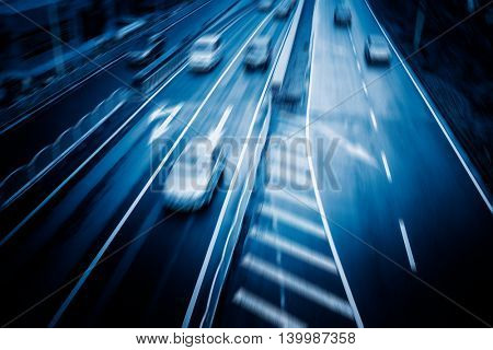car driving on city road,high angle view,shanghai china.