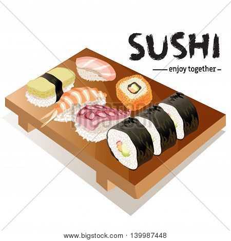 Various types of sushi on gete plate isolated on white background. Text sushi enjoy together. For sushi bar logo design. Japanese traditional cuisine banner. Vector illustration stock vector.