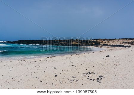 Beautiful white sand beach in Lanzarote Spain