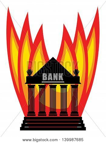 Abstract Burning Bank on white background, vector illustration