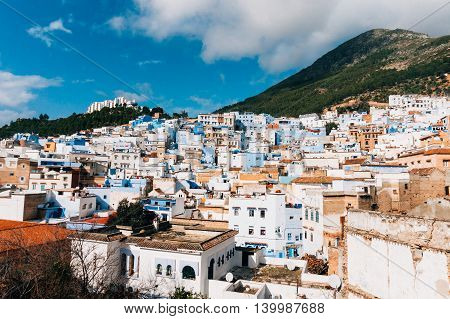 View over Chefchaouen the blue city of Morocco