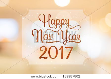 Happy New Year 2017 Word On White Frame At Abstract Blurred Bokeh Light Background, Holiday Concept