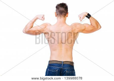 Well defined back and biceps of a muscular man - isolated on white.