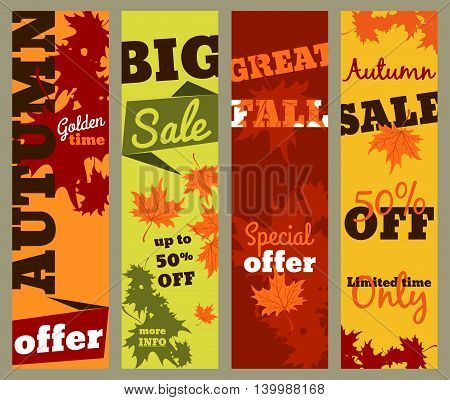 Autumn sale - set of vertical banners vector template for web print and other projects.