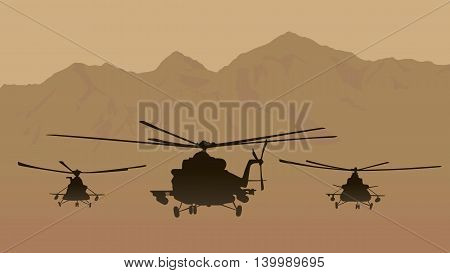Illustration fighting helicopters in attack.  Illustration fighting helicopters in attack.