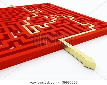 Golden arrow in red maze. 3d illustration.
