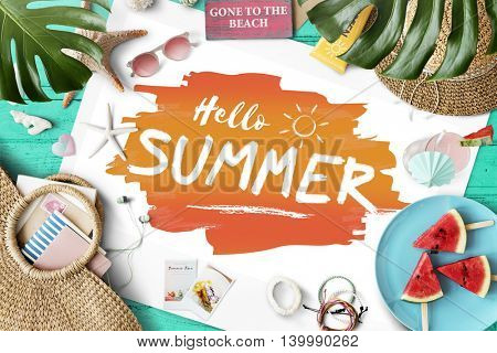 Hello Summer Travel Vacation Holiday Concept