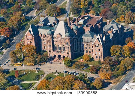 Queen's Park is an urban park in Downtown Toronto, Ontario, Canada. The park is the site of the Ontario Legislative Building, which houses the Legislative Assembly of Ontario.