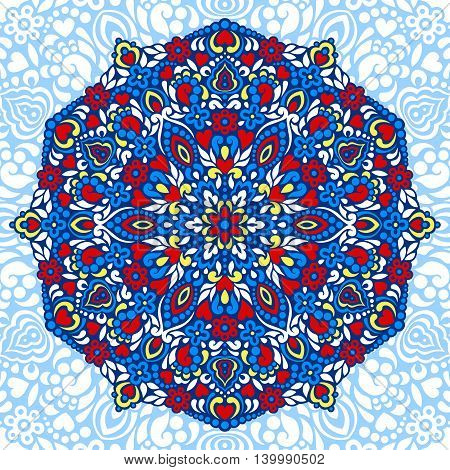 Abstract Flower Mandala. Decorative ethnic element for design. Vector illustration.