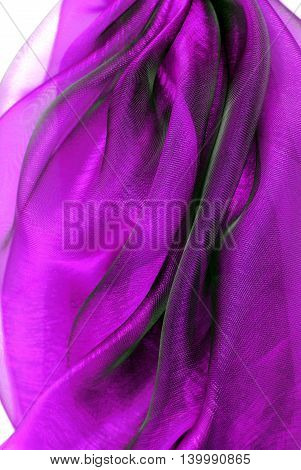 close up of the wavy violet organza fabric
