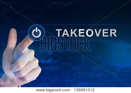 double exposure business hand clicking takeover button with blurred background