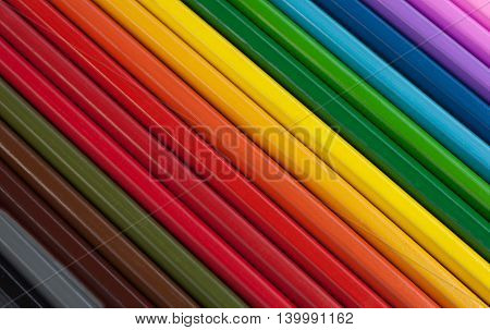 Colored pencils for drawing in school and other educational institutions.